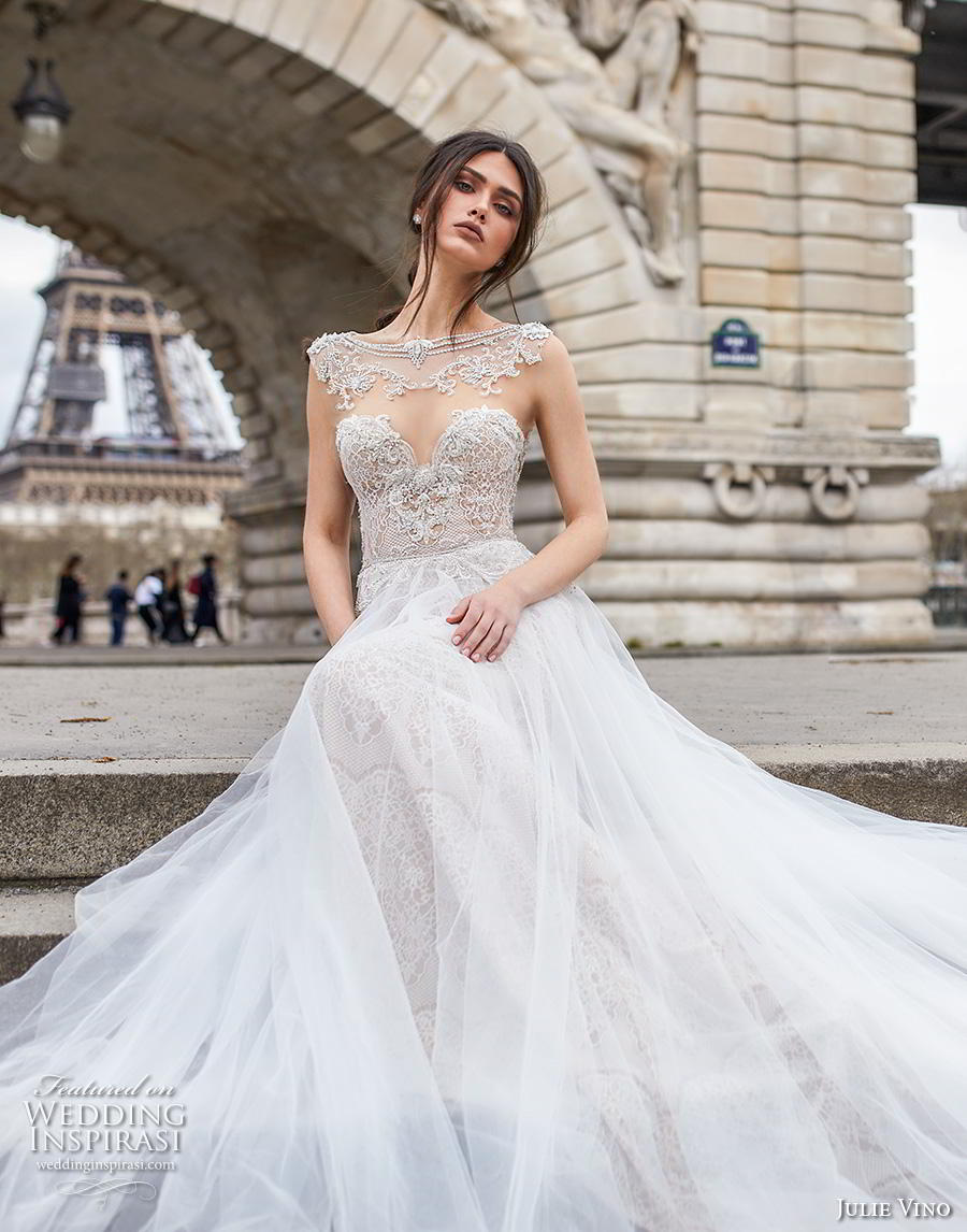 julie vino 2019 paris bridal sleeveless bateau sweetheart neckline heavily embellished bodice glamorous romantic fit and flare wedding dress a  line overskirt keyhole back chapel train (9) zv
