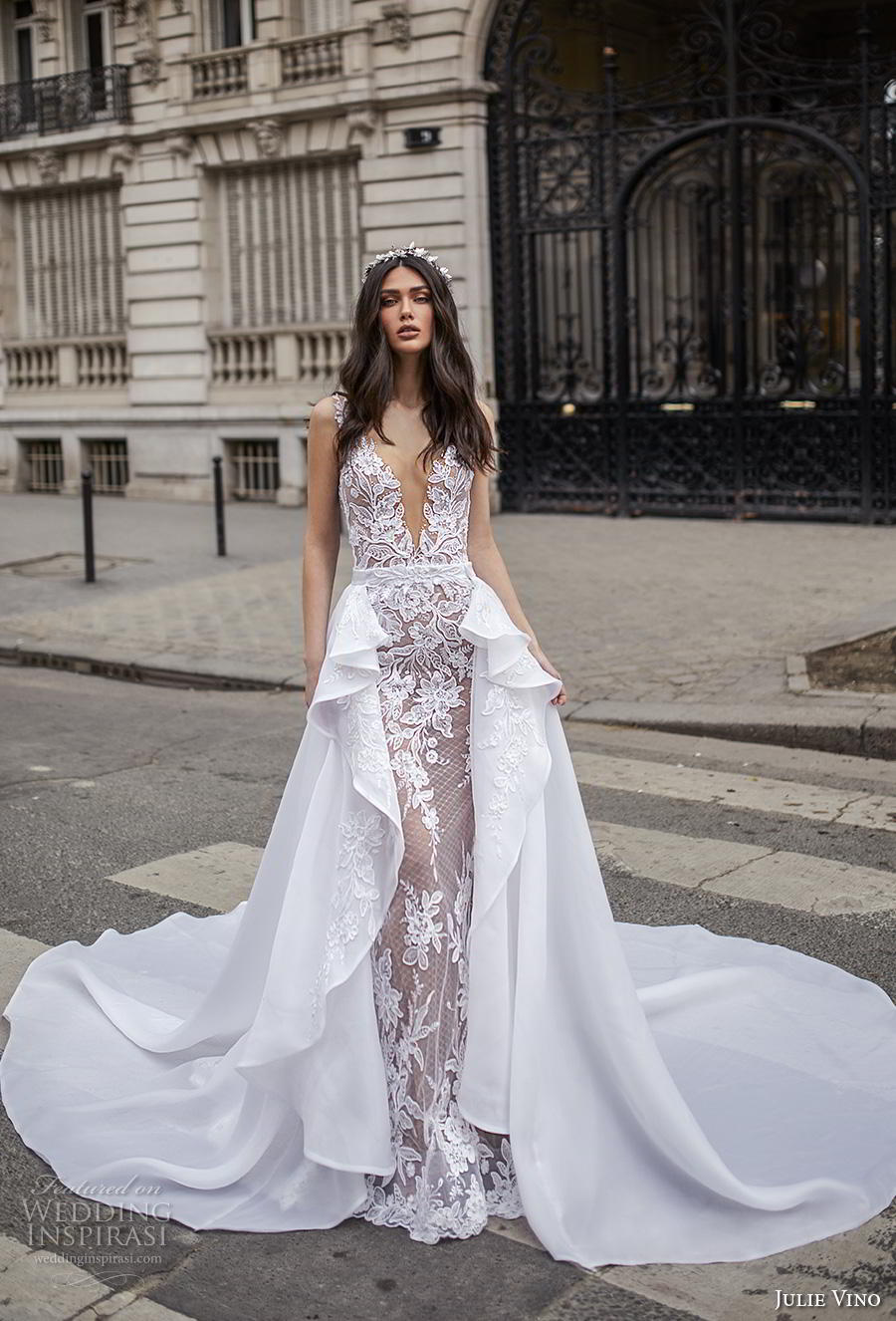 julie vino 2019 paris bridal sleeveless deep v neck full embellishment elegant glamorous fit and flare wedding dress a  line overskirt backless v back chapel train (10) mv