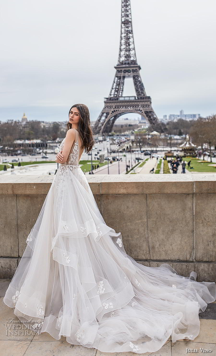 julie vino 2019 paris bridal sleeveless deep v neck heavily embellished bodice tiered skirt romantic soft a  line wedding dress backless v back chapel train (2) bv