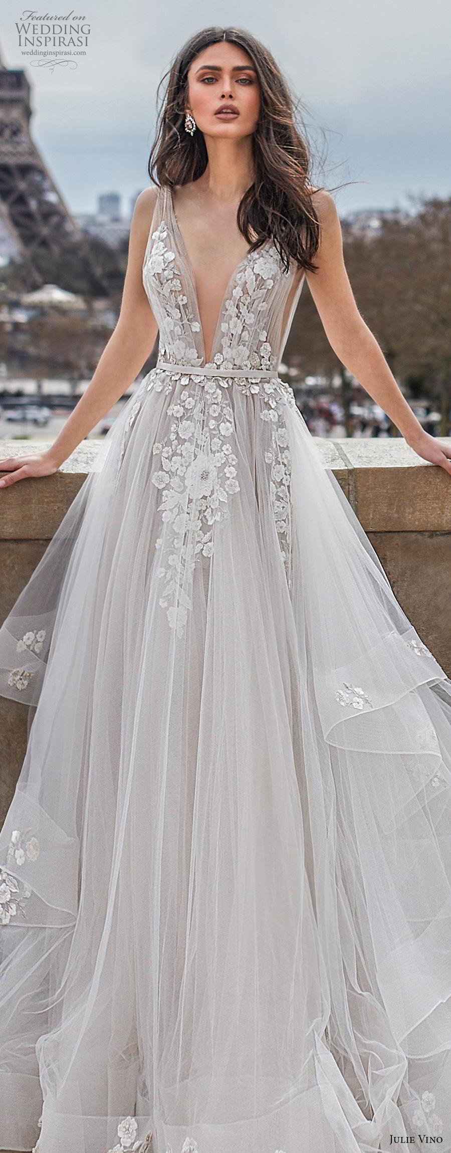 julie vino 2019 paris bridal sleeveless deep v neck heavily embellished bodice tiered skirt romantic soft a  line wedding dress backless v back chapel train (2) lv