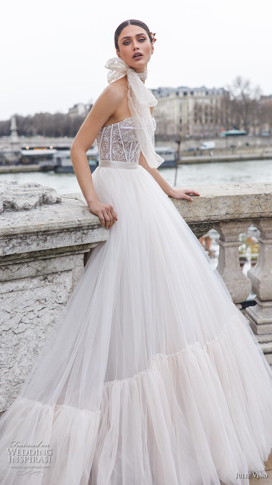 julie vino 2019 paris bridal strapless sweetheart neckline heavily embellished bodice bustier romantic a  line wedding dress chapel train (7) sdv