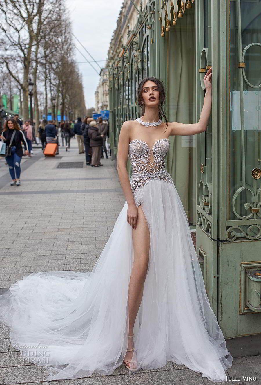 julie vino 2019 paris bridal strapless sweetheart neckline heavily embellished bodice slit skirt glamorous sexy soft a  line wedding dress keyhole back chapel train (8) mv