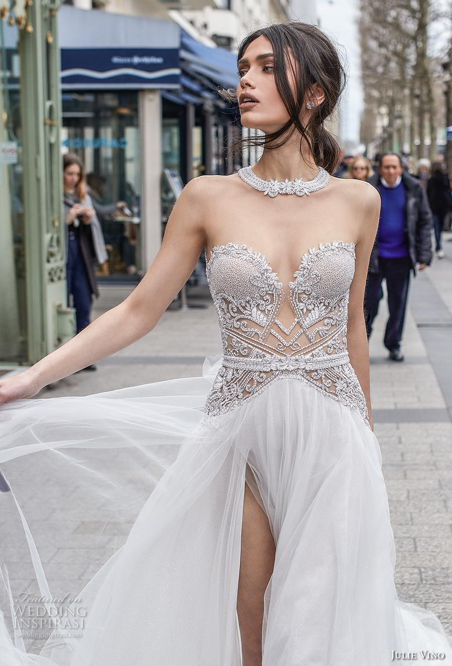 julie vino 2019 paris bridal strapless sweetheart neckline heavily embellished bodice slit skirt glamorous sexy soft a  line wedding dress keyhole back chapel train (8) zv