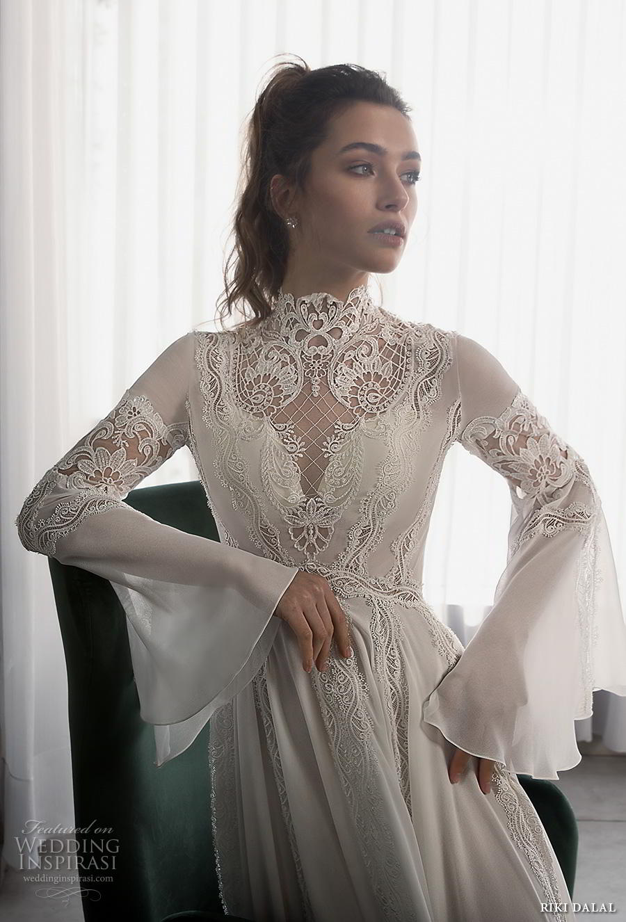 riki dalal 2018 glamour bridal long bell sleeves high neck heavily embellished bodice romantic bohemian a  line wedding dress cross strap back sweep train (4) zv