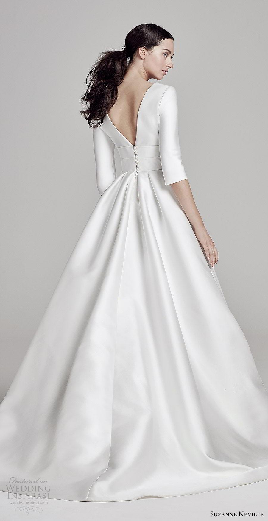 suzanne neville bridal 2019 3 quarter jewel neck minimal a line ball gown wedding dress (layla) v back chapel train clean romantic mv