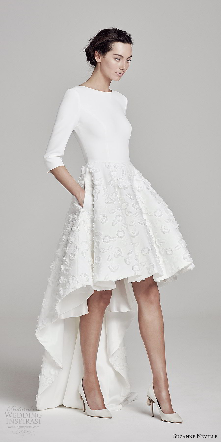suzanne neville bridal 2019 3 quarter sleeves jewel neck clean bodice high low embellished skirt a line wedding dress (orwell) chic modern mv