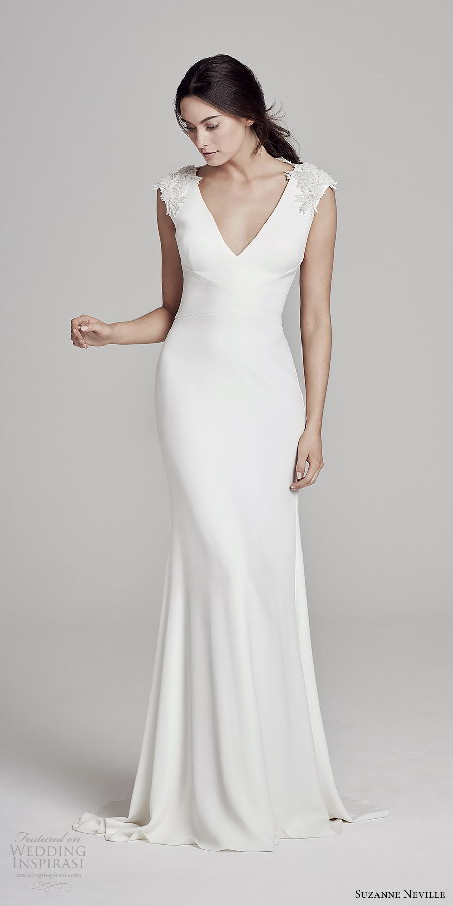 suzanne neville bridal 2019 embellished cap sleeves v neck sheath wedding dress (austen) chic minimal mv
