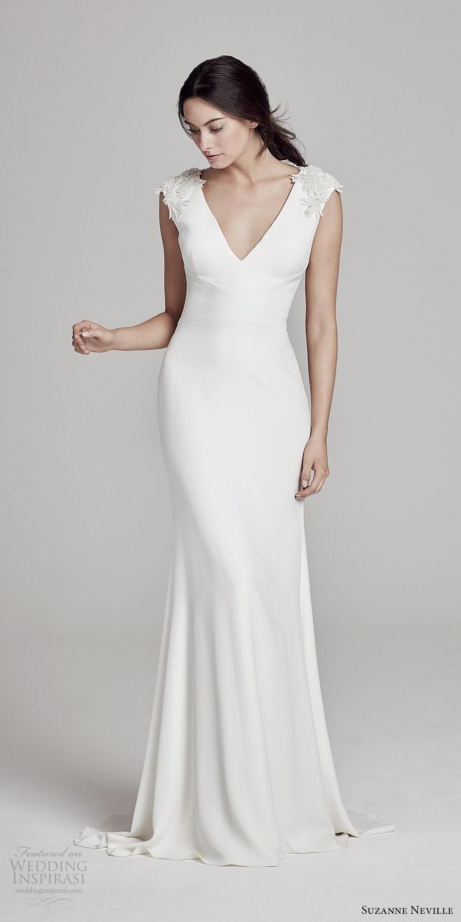 suzanne neville bridal 2019 embellished cap sleeves v neck sheath wedding dress (austen) chic minimal mv