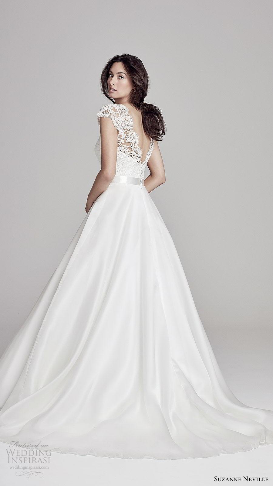 suzanne neville bridal 2019 illusion cap sleeves sheer v neck sweetheart a line wedding dress (alicia) v back chapel train romantic elegant bv