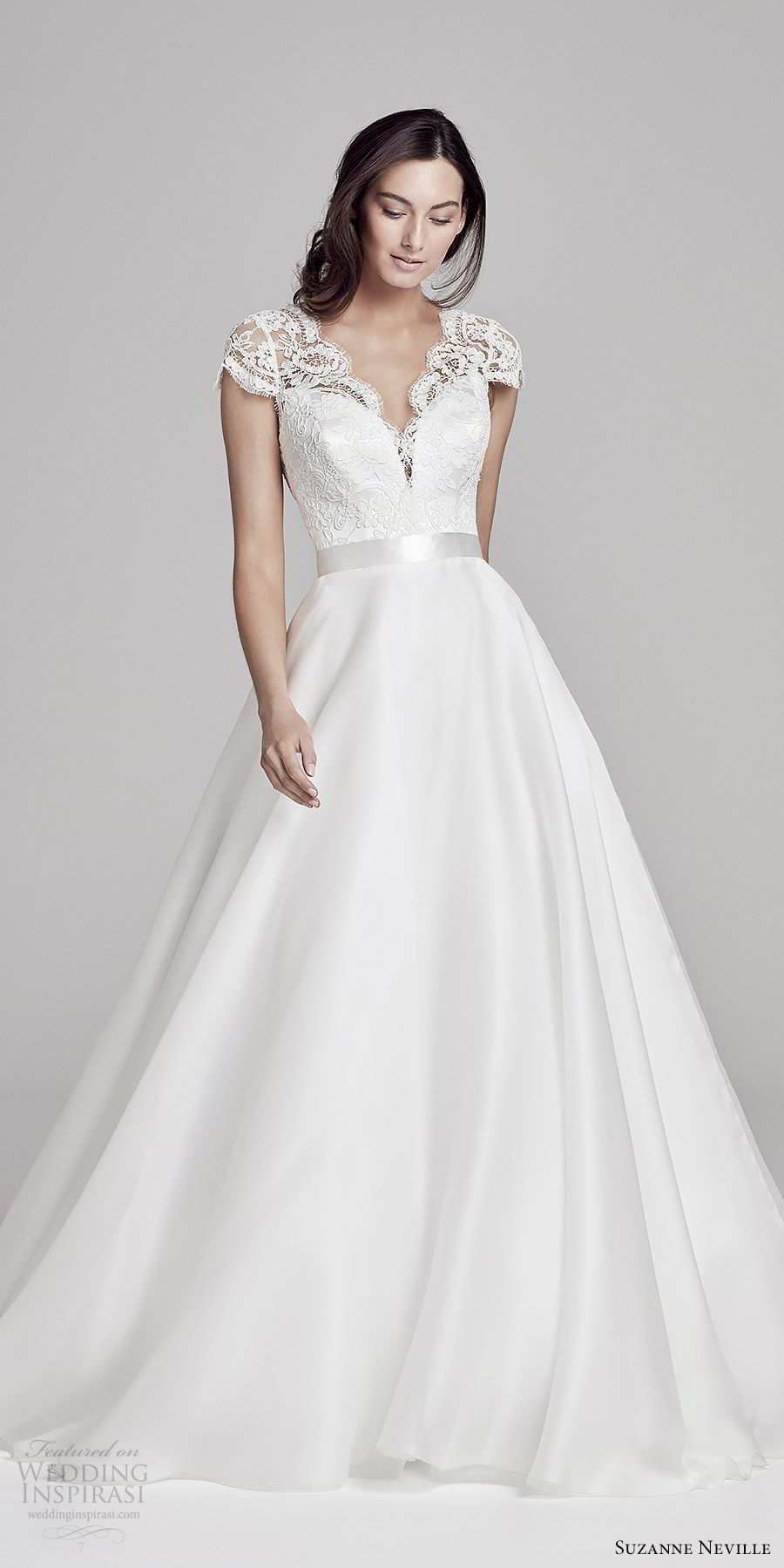 suzanne neville bridal 2019 illusion cap sleeves sheer v neck sweetheart a line wedding dress (alicia) v back chapel train romantic elegant mv