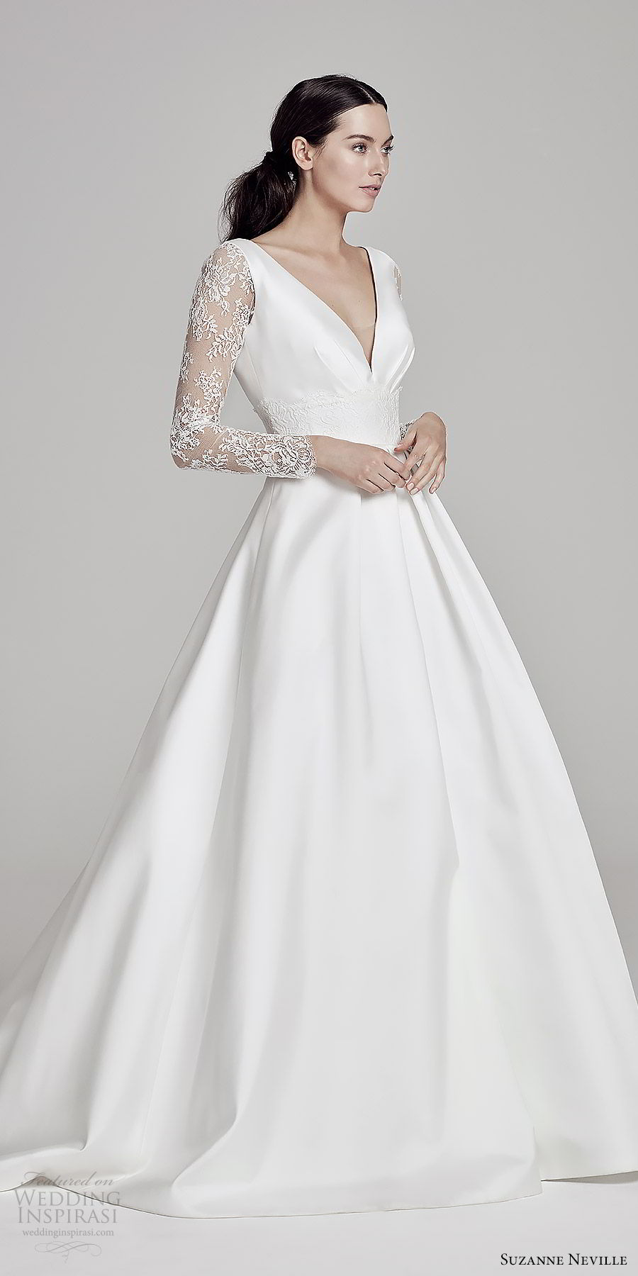 suzanne neville bridal 2019 illusion long sleeves deep v neck minimal a line ball gown wedding dress (beatrix) sweep train elegant romantic mv