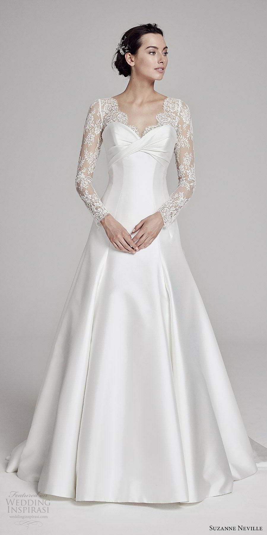 suzanne neville bridal 2019 illusion long sleeves sheer v neck sweetheart a line wedding dress (livia) sweep train classic romantic mv