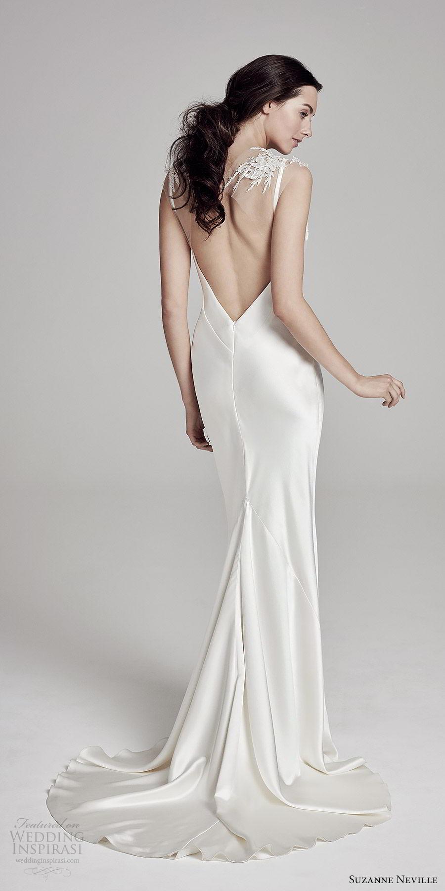 suzanne neville bridal 2019 lace cap sleeves v neck sheath wedding dress (christie) chapel train keyhole back elegant bv