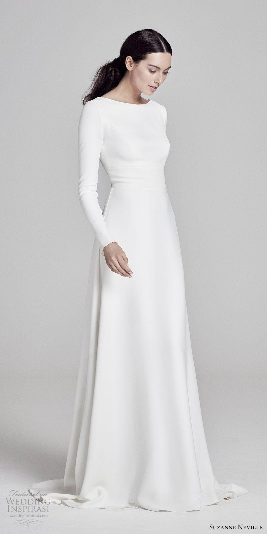 suzanne neville bridal 2019 long sleees jewel neck minimal a line wedding dress (adair) chic modern keyhole back sweep train mv