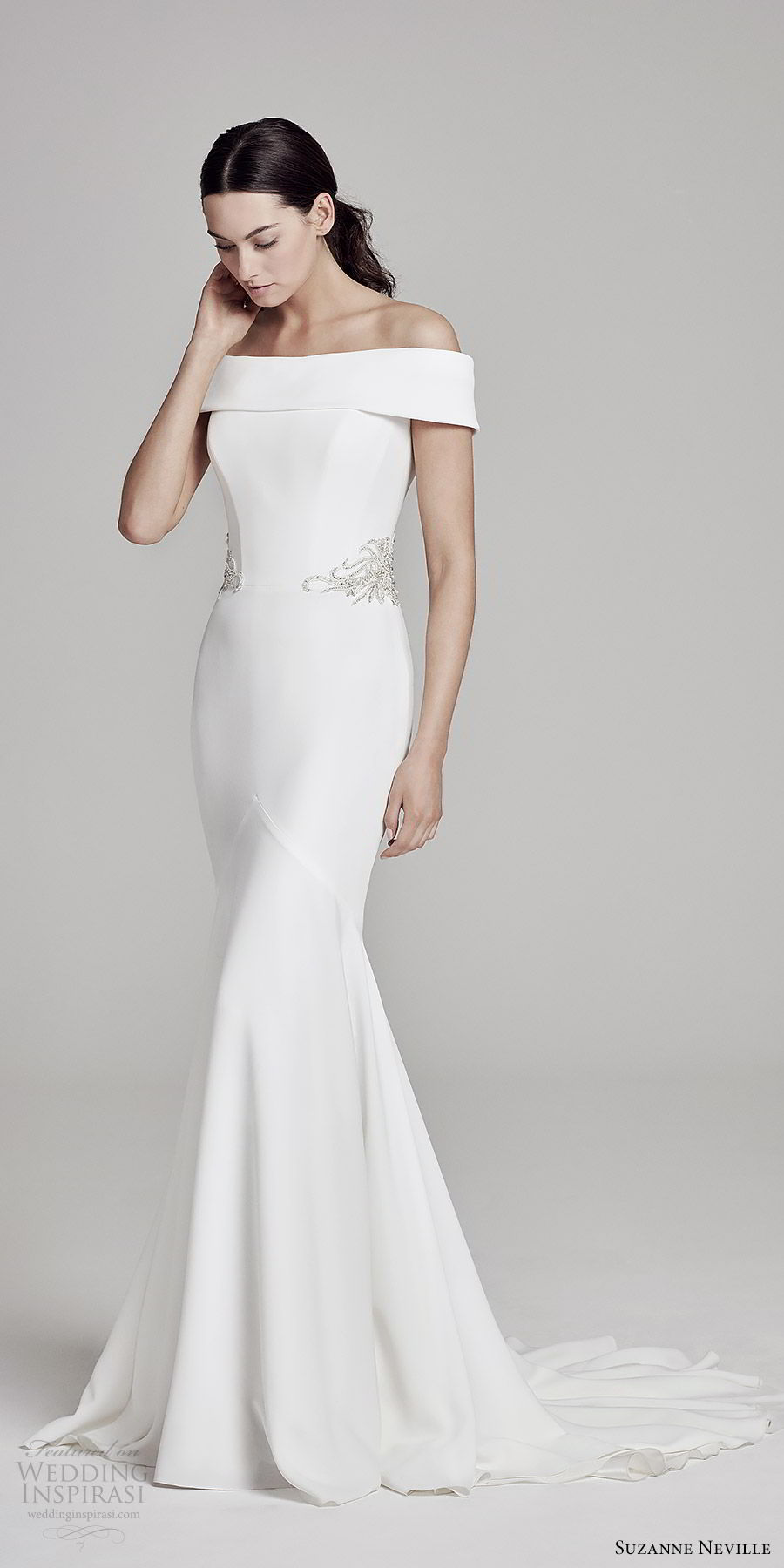 suzanne neville bridal 2019 off shoulder straight across embellished waist sheath wedding dress (orianna) chapel train modern clean elegant mv