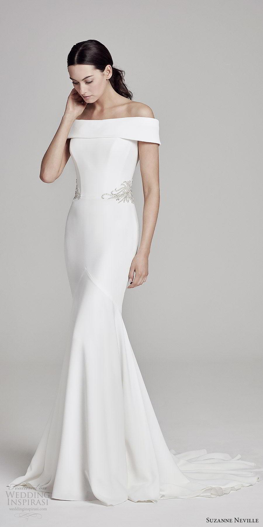 suzanne neville bridal 2019 off shoulder straight across embellished waist sheath wedding dress (orianna) chapel train modern clean elegant mv