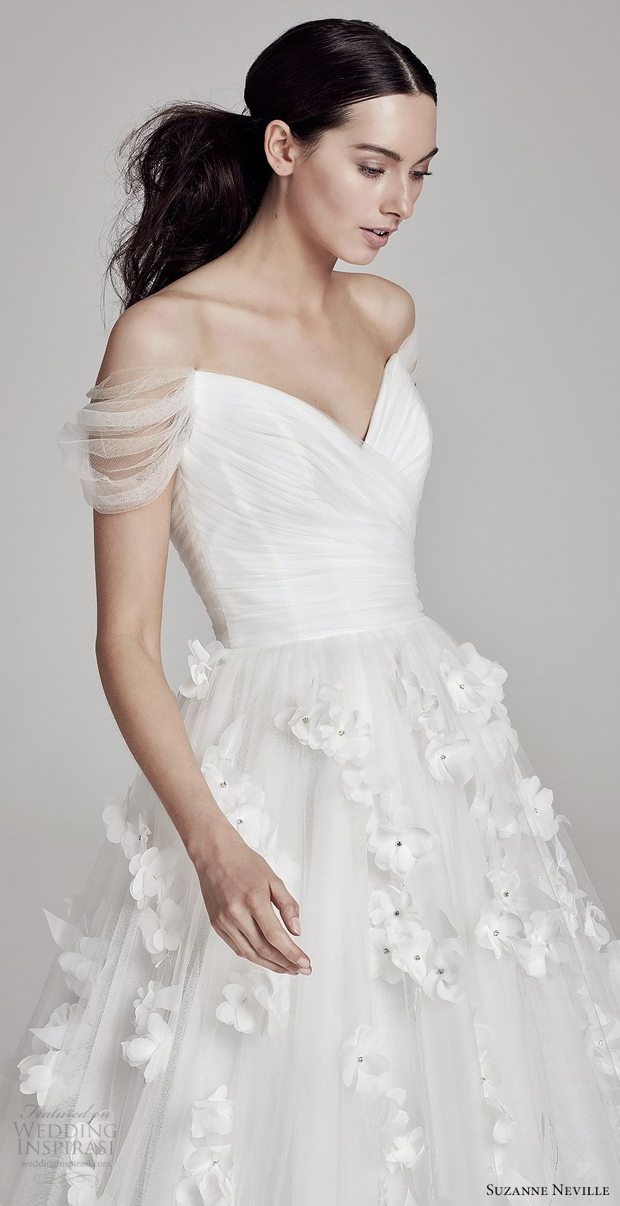 suzanne neville bridal 2019 off shoulder sweetheart neckline ruched bodice ball gown wedding dress (juliette) romantic prinecess mv