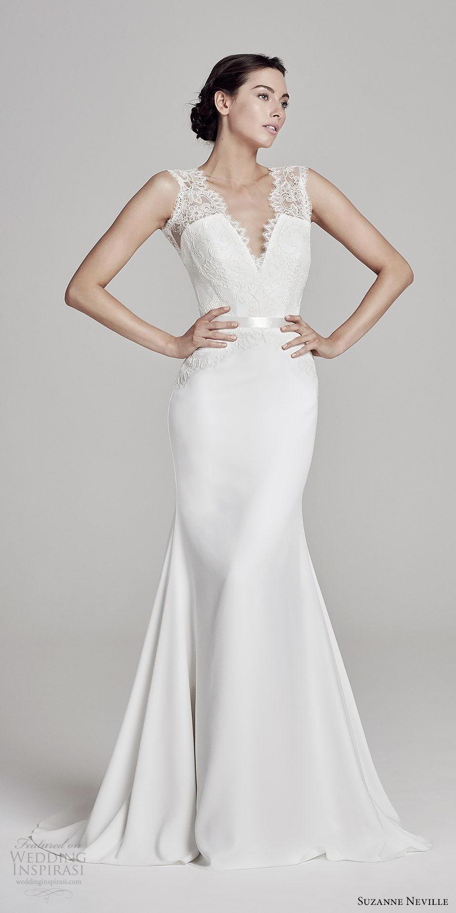 suzanne neville bridal 2019 sleeeless illusion thick straps deep v neck lace bodice sheath wedding dress (antoinetta) elegant vback sweep train mv