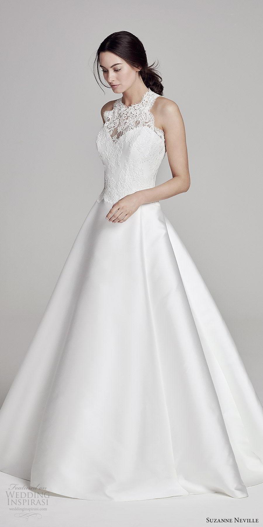 suzanne neville bridal 2019 sleeveless halter neck lace bodice (mandalay) chapel train romantic elegant mv