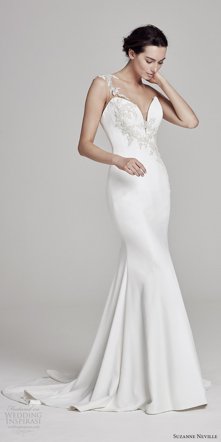 suzanne neville bridal 2019 sleeveless illusion thick straps sweetheart neckline sheath wedding dress (ophelia) elegant sophisticated mv