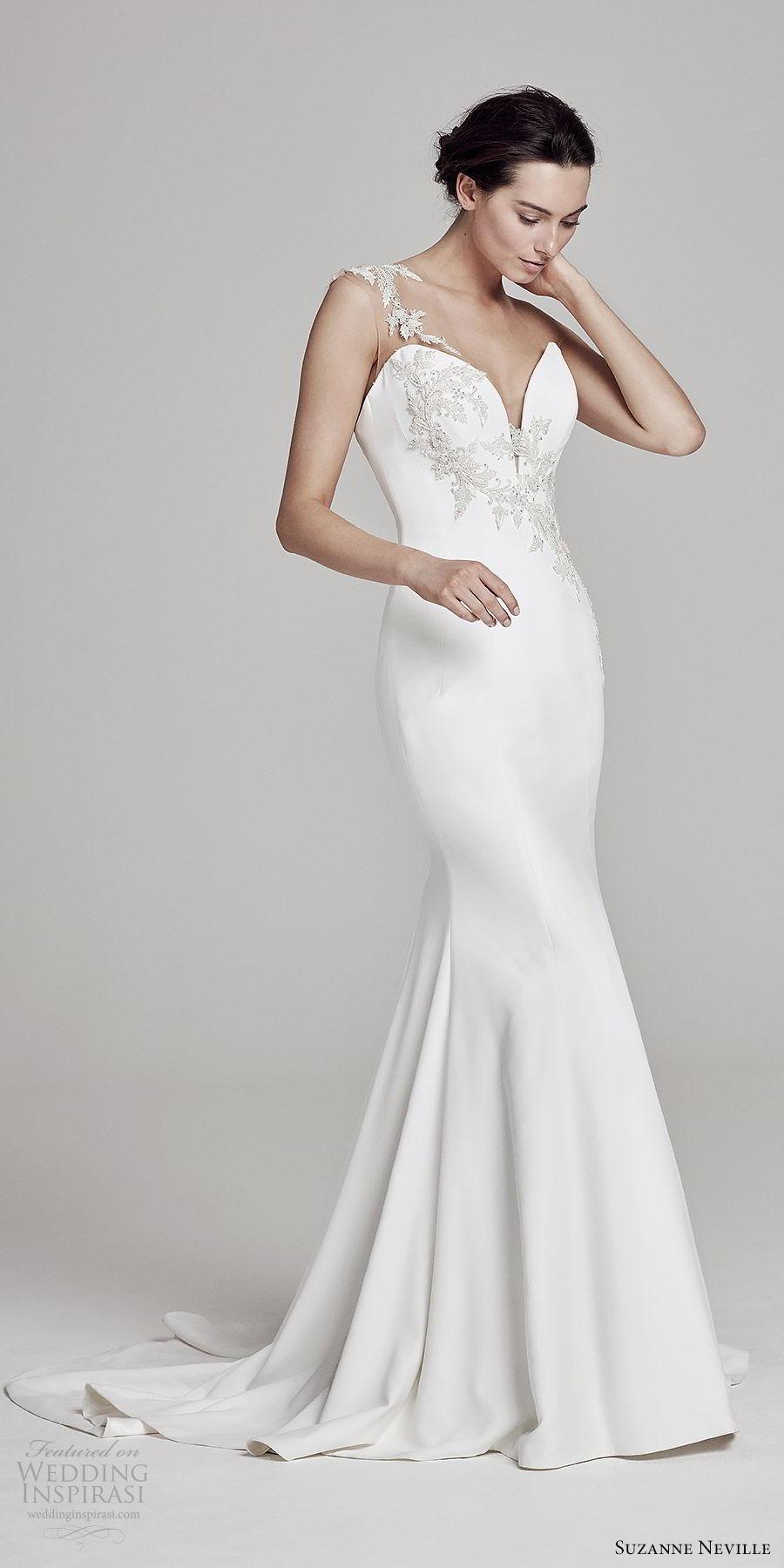 suzanne neville bridal 2019 sleeveless illusion thick straps sweetheart neckline sheath wedding dress (ophelia) elegant sophisticated mv