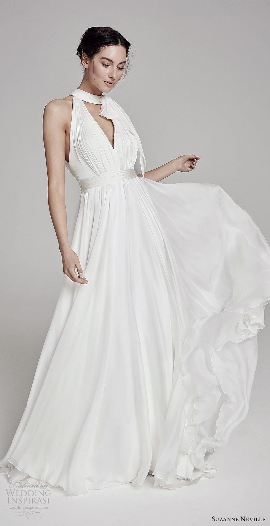 suzanne neville bridal 2019 sleeveless keyhole halter neck a line wedding dress (elsa) romantic mv