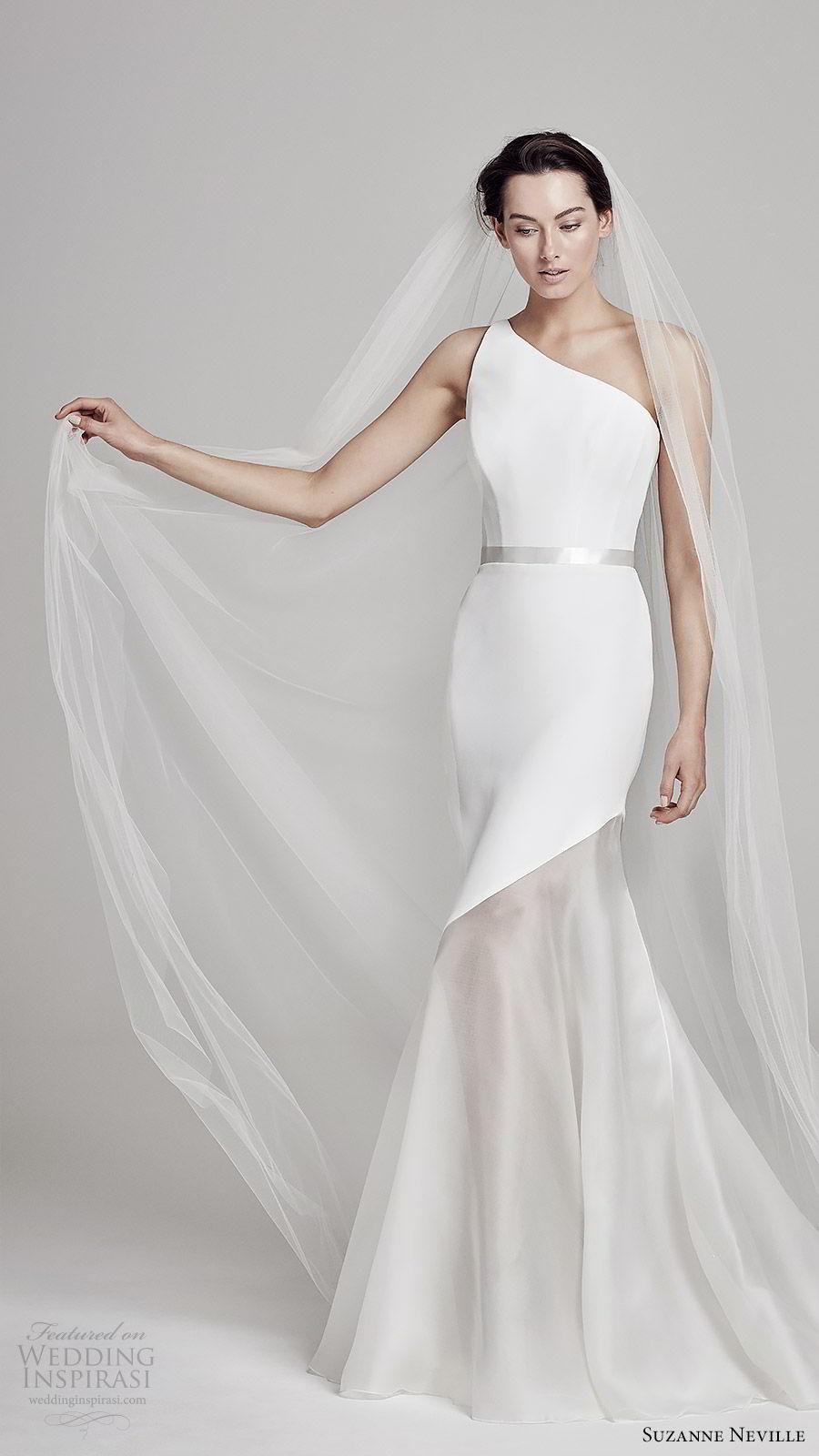 suzanne neville bridal 2019 sleeveless one shoulder mermaid wedding dress (dahl) sweep train chic modern minimal mv