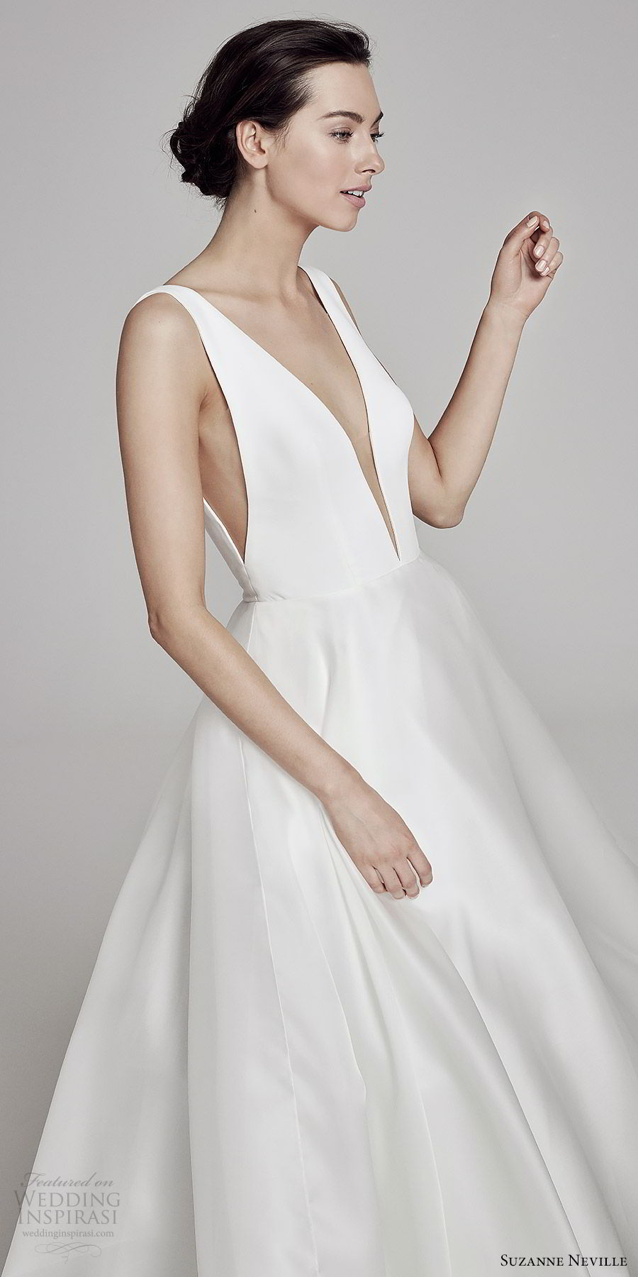 suzanne neville bridal 2019 sleeveless plunging v neck a line wedding dress (serrano) clean chic modern minimal zv