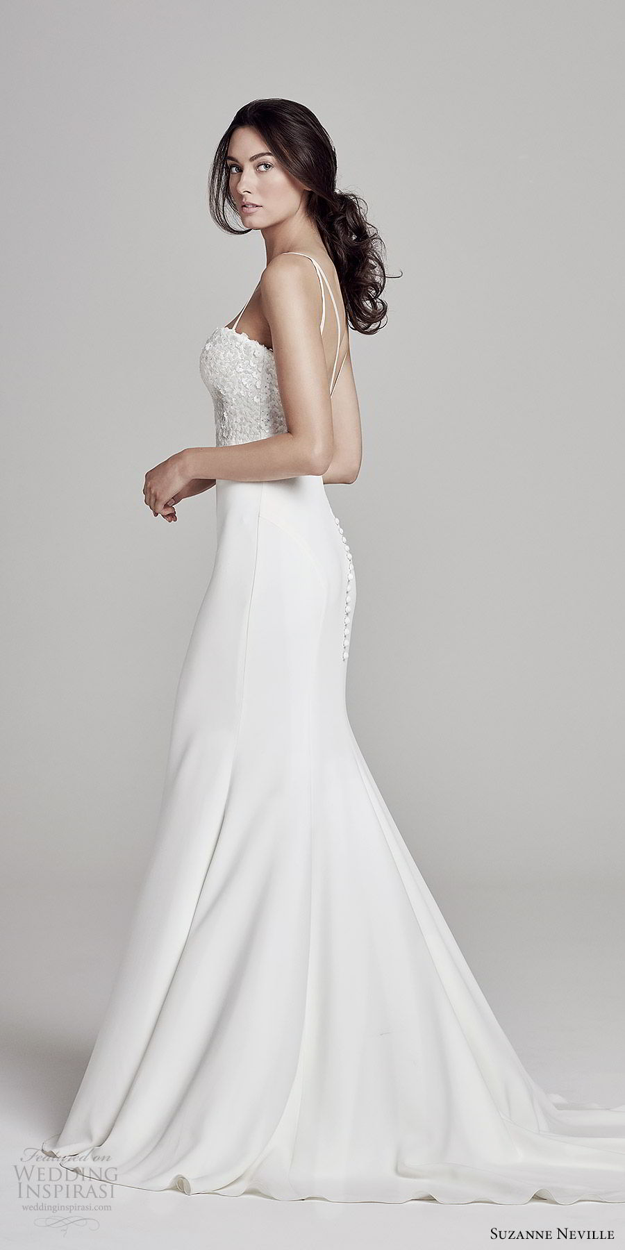 suzanne neville bridal 2019 sleeveless thin straps sweetheart embellished bodice sheath wedding dress (bronte) chapel train elegant chic bv