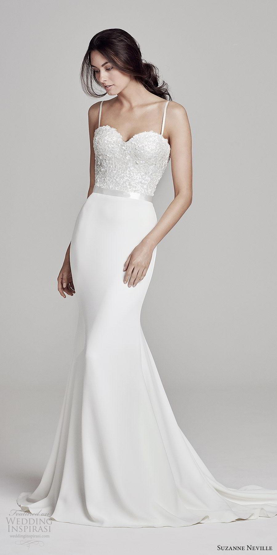 suzanne neville bridal 2019 sleeveless thin straps sweetheart embellished bodice sheath wedding dress (bronte) chapel train elegant chic mv