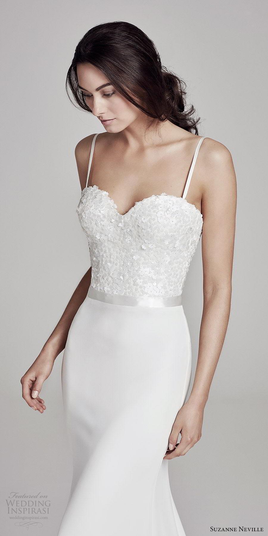 suzanne neville bridal 2019 sleeveless thin straps sweetheart embellished bodice sheath wedding dress (bronte) chapel train elegant chic zv