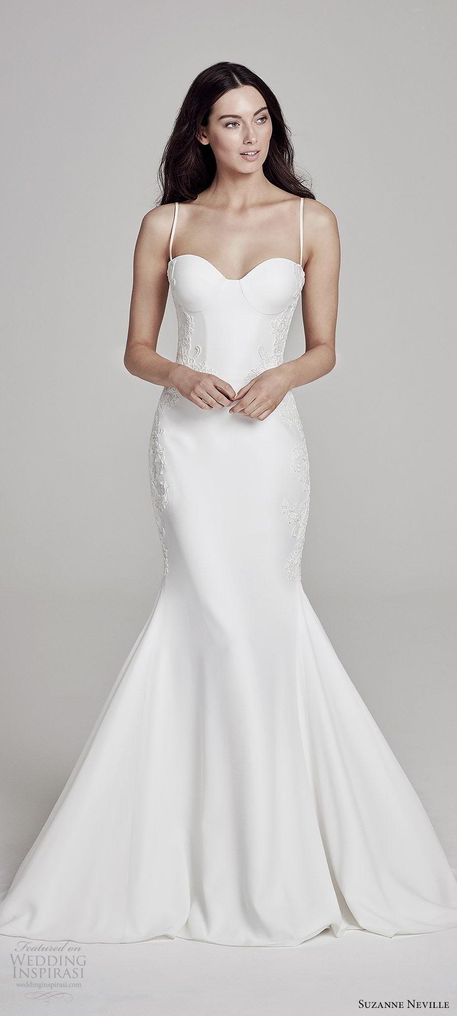 suzanne neville bridal 2019 sleeveless thin straps sweetheart mermaid wedding dress (leandra) sweep train modern elegant mv