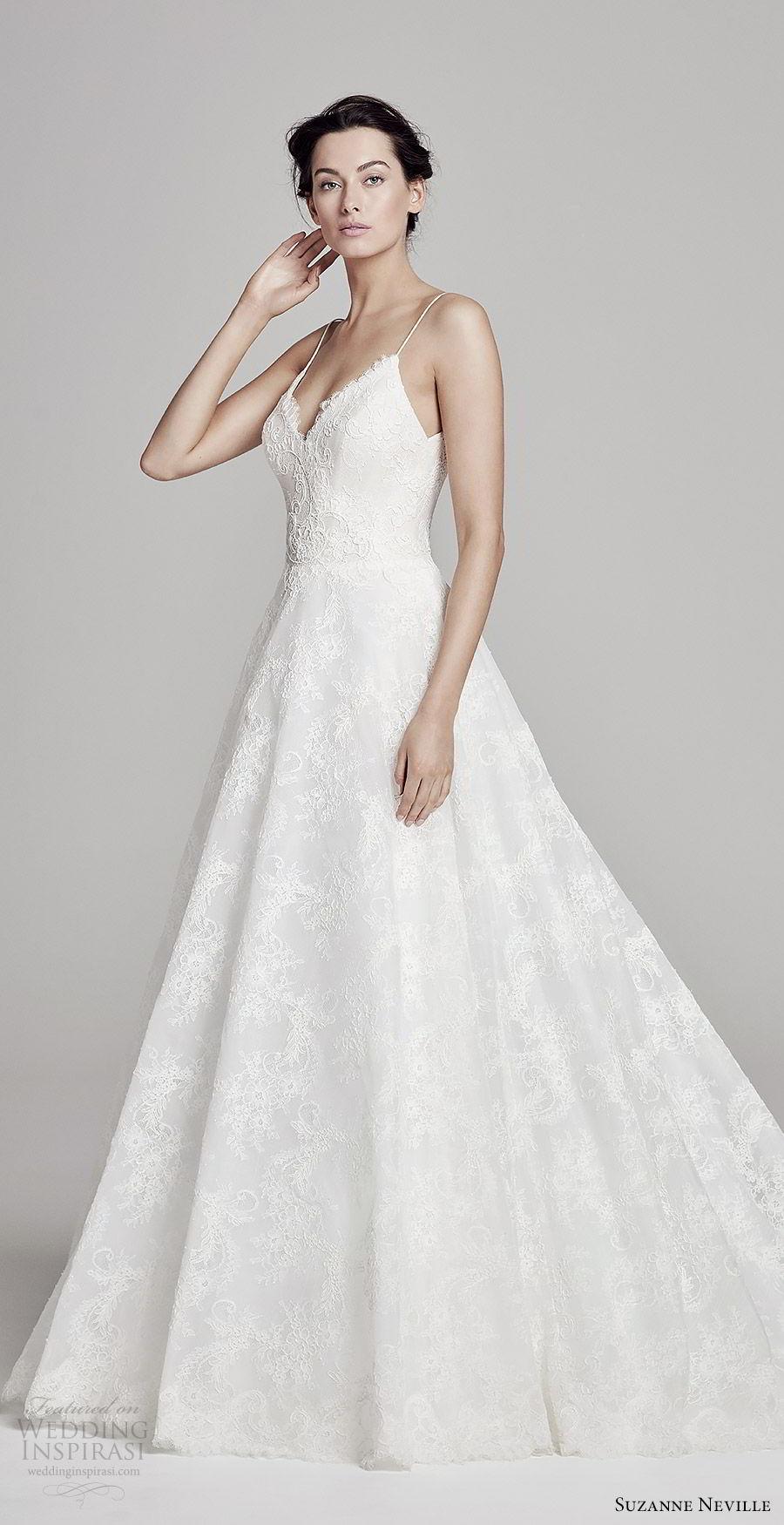 suzanne neville bridal 2019 sleeveless thin straps sweetheart neckline a line ball gown lace wedding dress (harlow) romantic elegant mv