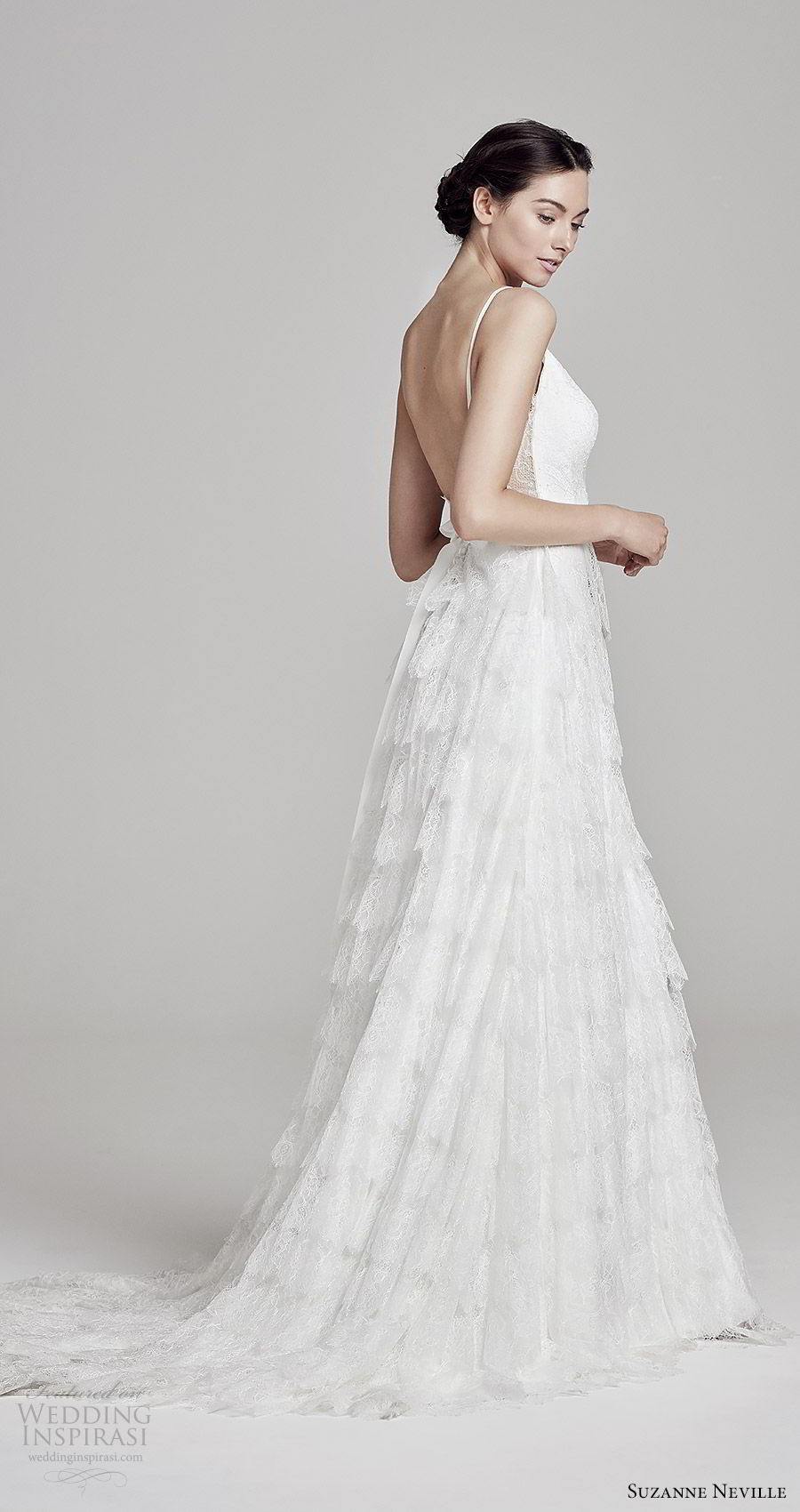 suzanne neville bridal 2019 sleeveless thin straps sweetheart neckline tiered skirt lace a line wedding dress (anais) low back chapel train bv