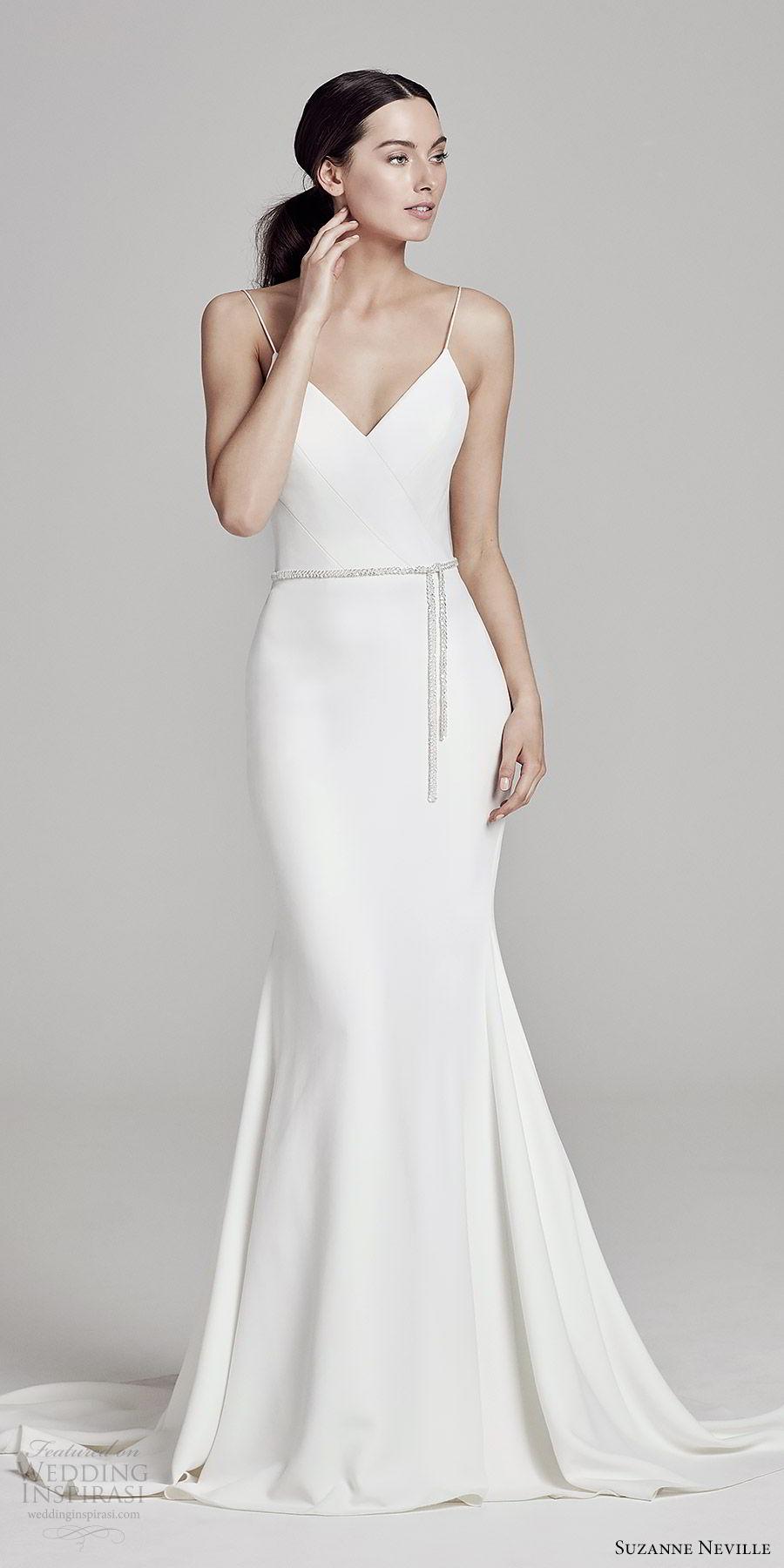 suzanne neville bridal 2019 sleeveless thin straps v neck clean sheath wedding dress (venus) chapel train chic modern mv