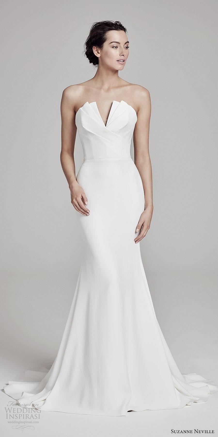 suzanne neville bridal 2019 strapless crumbcatcher split neckline minimal sheath wedding dress (carmella) sweep train chic elegant mv