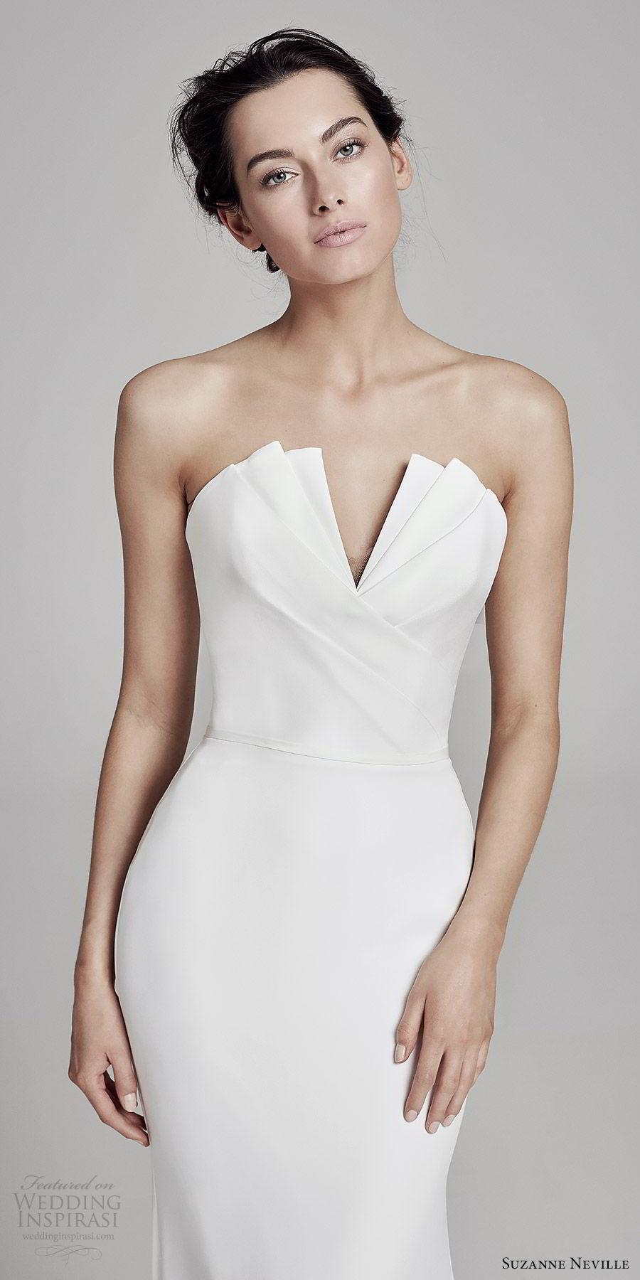 suzanne neville bridal 2019 strapless crumbcatcher split neckline minimal sheath wedding dress (carmella) sweep train chic elegant zv