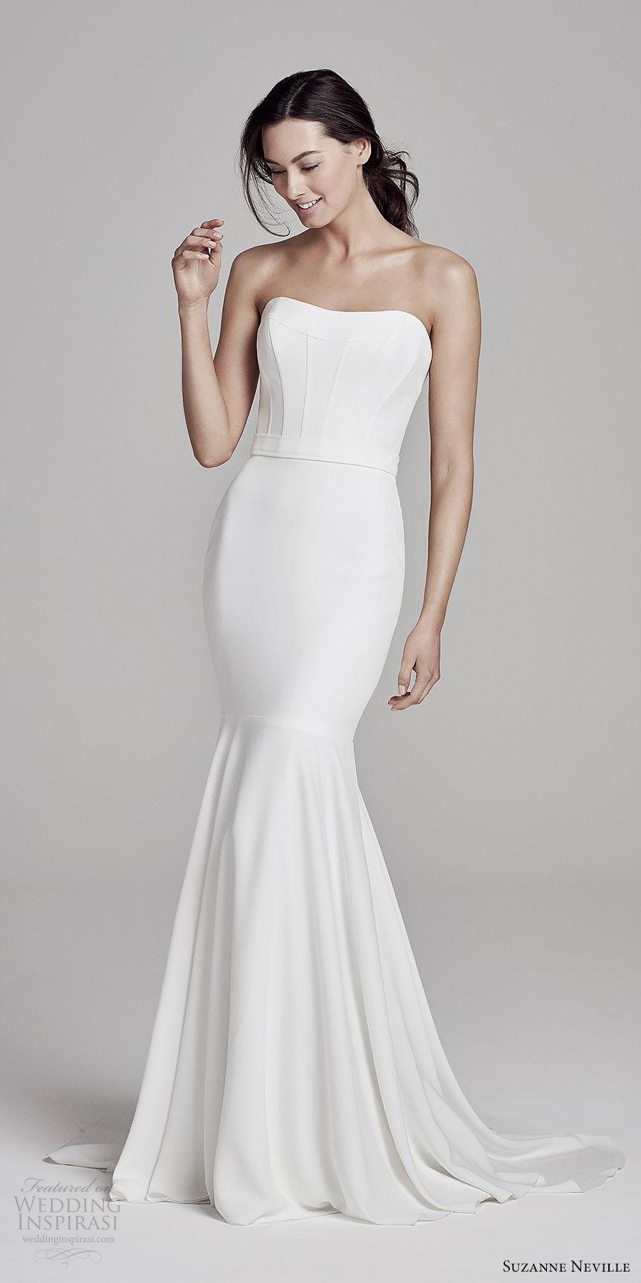 suzanne neville bridal 2019 strapless semi sweetheart minimally embellished mermaid wedding dress (selene) sweep train clean modern mv