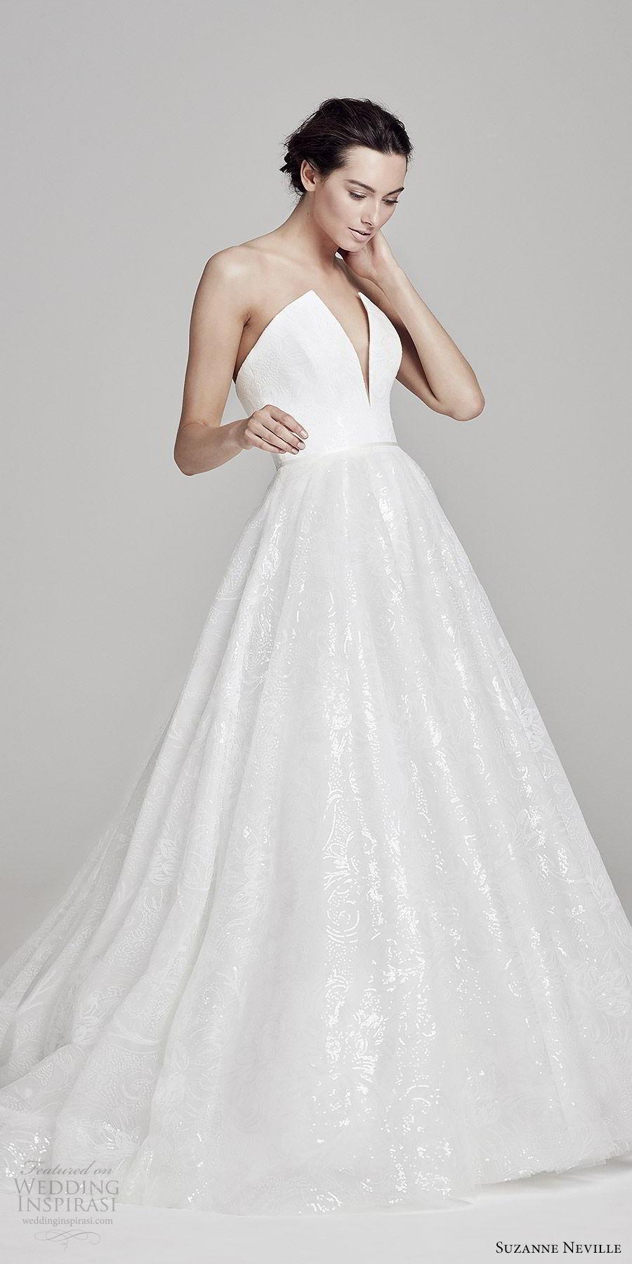 suzanne neville bridal 2019 strapless split plunging v neck a line embellished skirt ball gown wedding dress (seraphina) modern romantic mv