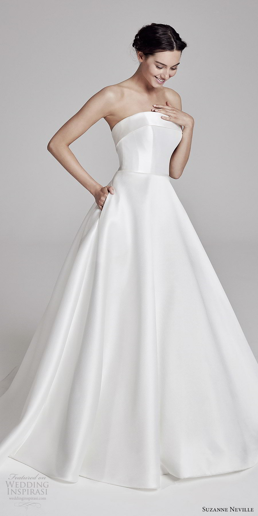 suzanne neville bridal 2019 strapless straight across a line ball gown wedding dress (loretta) simple classic pocket mv