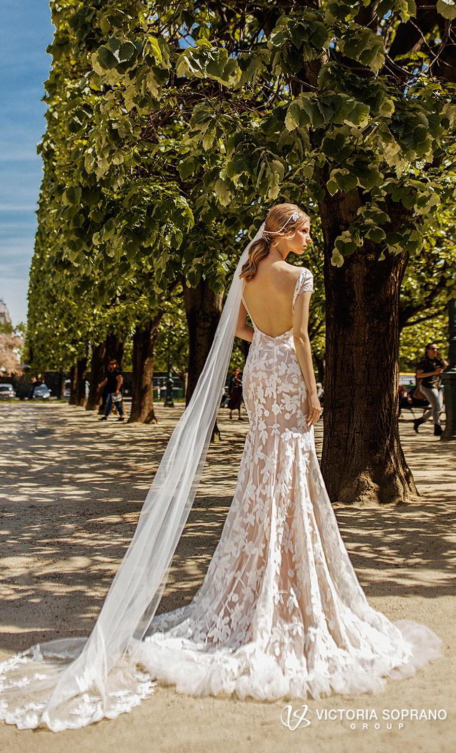 victoria soprano 2019 bridal cap sleeves v neck full embellishment elegant modified a  line wedding dress open back medium train (carmen) bv
