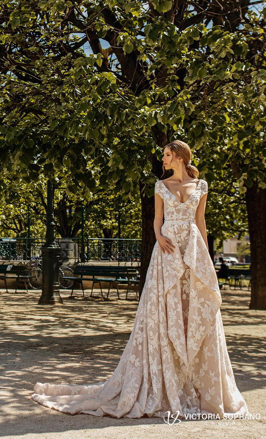 victoria soprano 2019 bridal cap sleeves v neck full embellishment elegant modified a line wedding dress open back medium train (carmen) mv