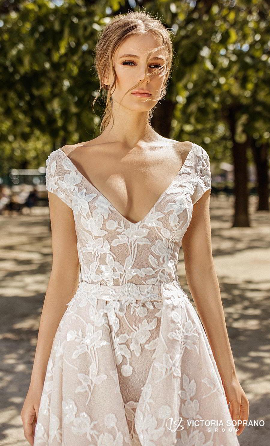 victoria soprano 2019 bridal cap sleeves v neck full embellishment elegant modified a  line wedding dress open back medium train (carmen) zv