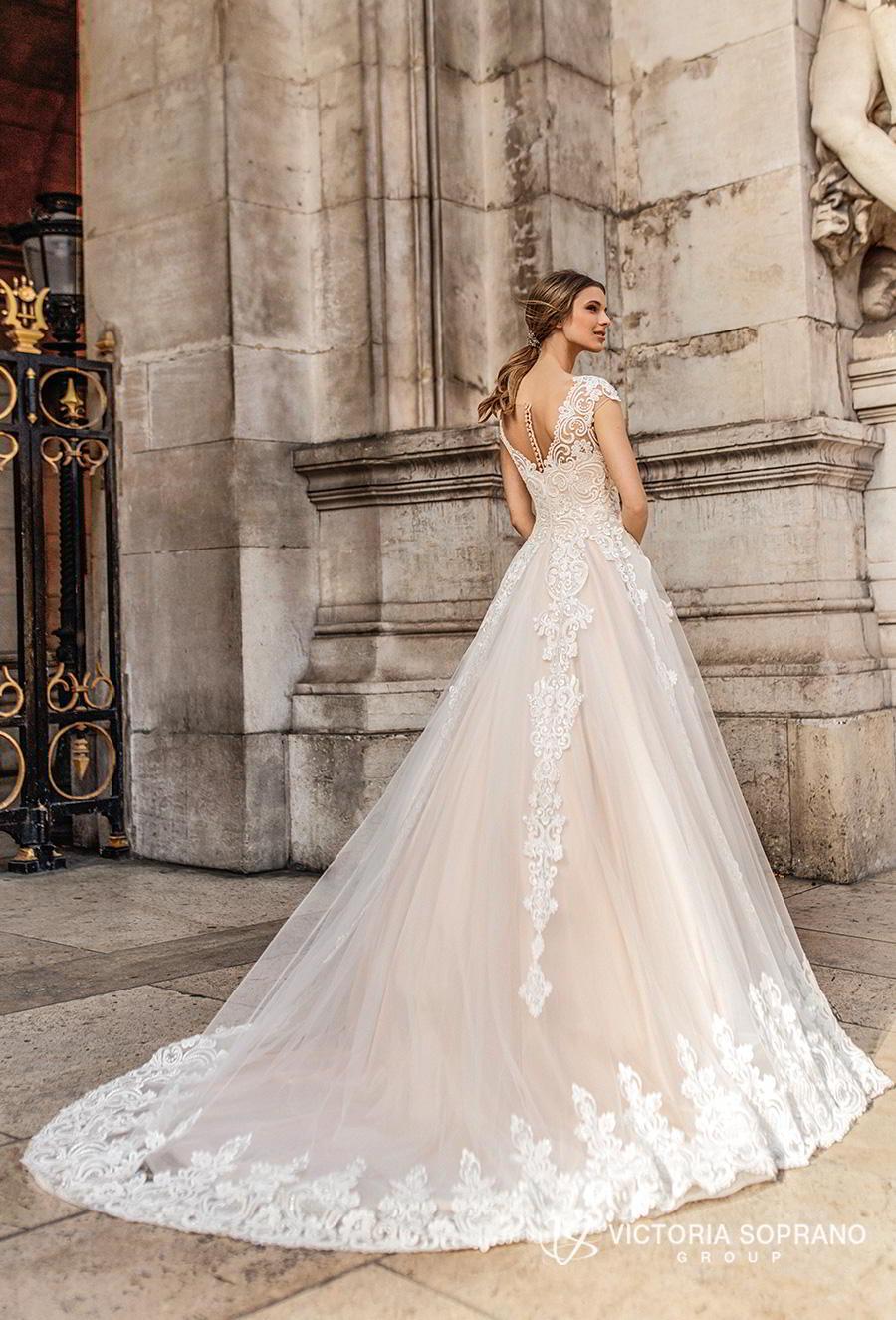 victoria soprano 2019 bridal cap sleeves v neck heavily embellished bodice romantic princess a  line wedding dress sheer button back chapel train (ivonna) bv