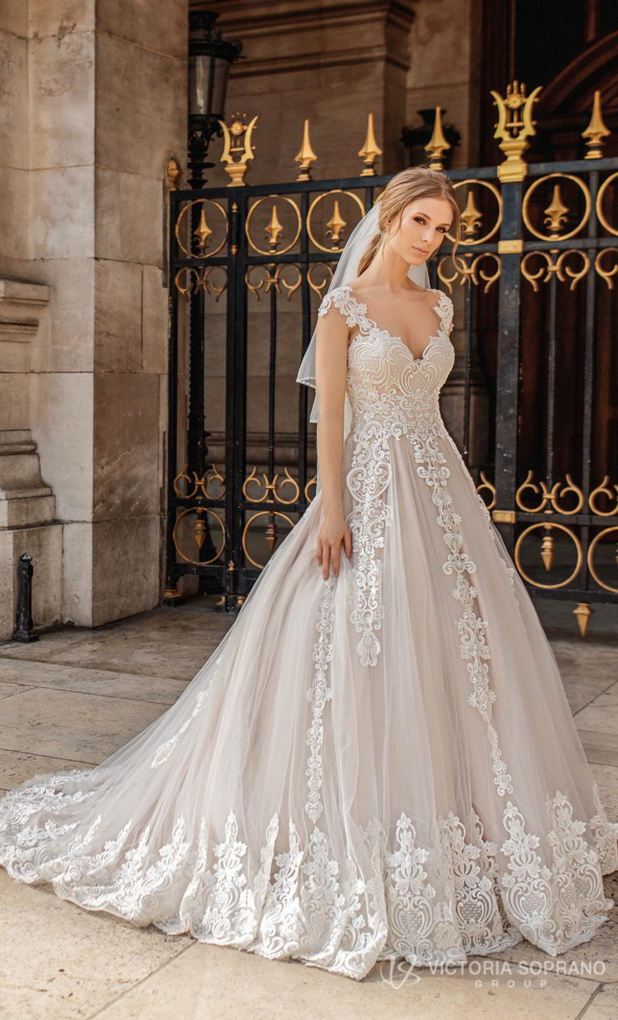 victoria soprano 2019 bridal cap sleeves v neck heavily embellished bodice romantic princess a  line wedding dress sheer button back chapel train (ivonna) mv