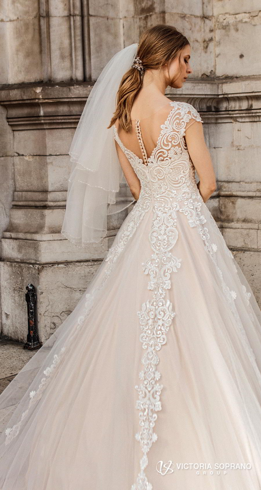 victoria soprano 2019 bridal cap sleeves v neck heavily embellished bodice romantic princess a  line wedding dress sheer button back chapel train (ivonna) zbv