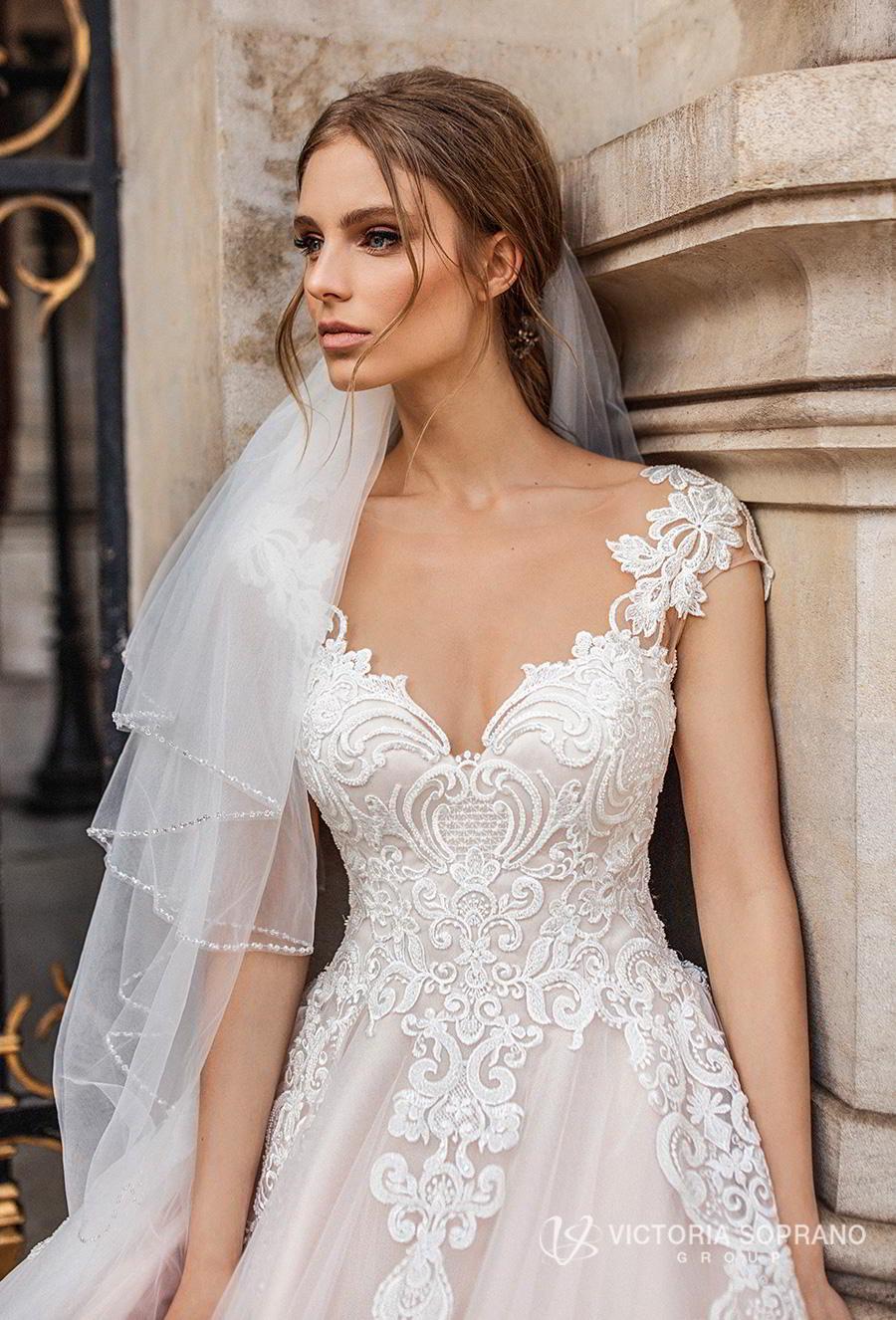 victoria soprano 2019 bridal cap sleeves v neck heavily embellished bodice romantic princess a  line wedding dress sheer button back chapel train (ivonna) zv
