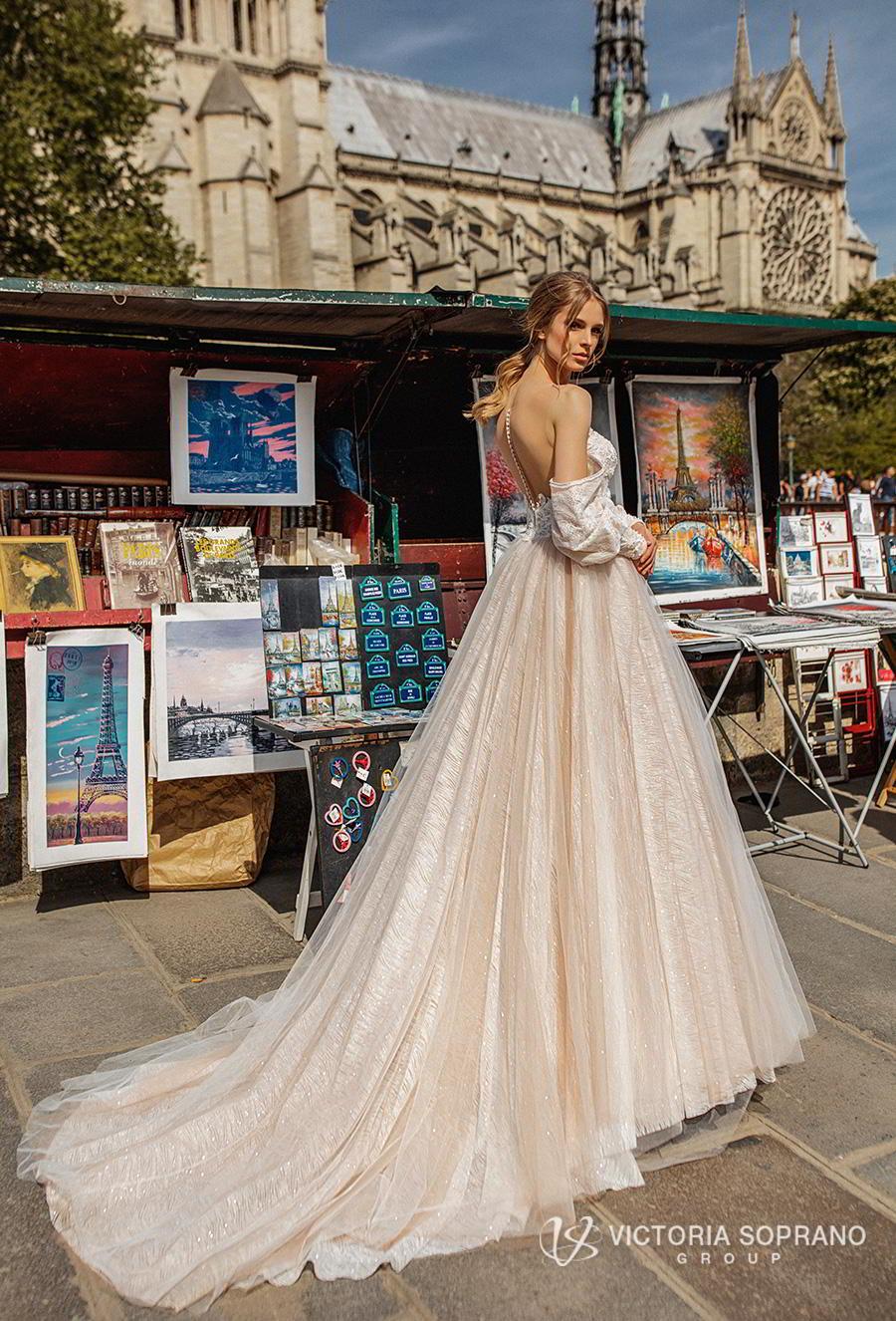 victoria soprano 2019 bridal detachable long sleeves off the shoulder illusion bateau sweetheart neckline princess blush ball gown wedding dress chapel train (justina) bv