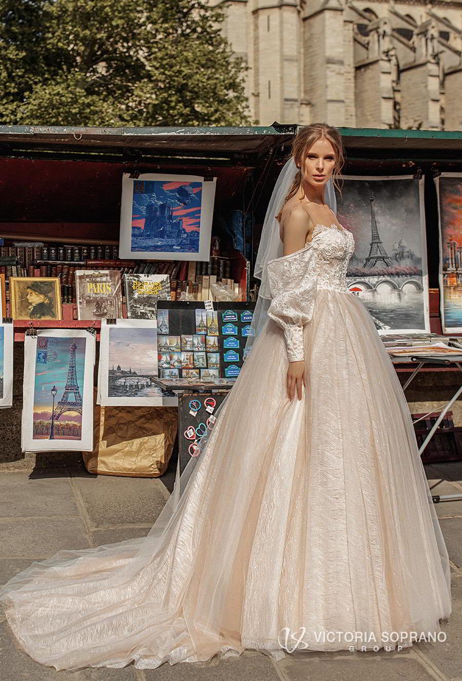 victoria soprano 2019 bridal detachable long sleeves off the shoulder illusion bateau sweetheart neckline princess blush ball gown wedding dress chapel train (justina) mv