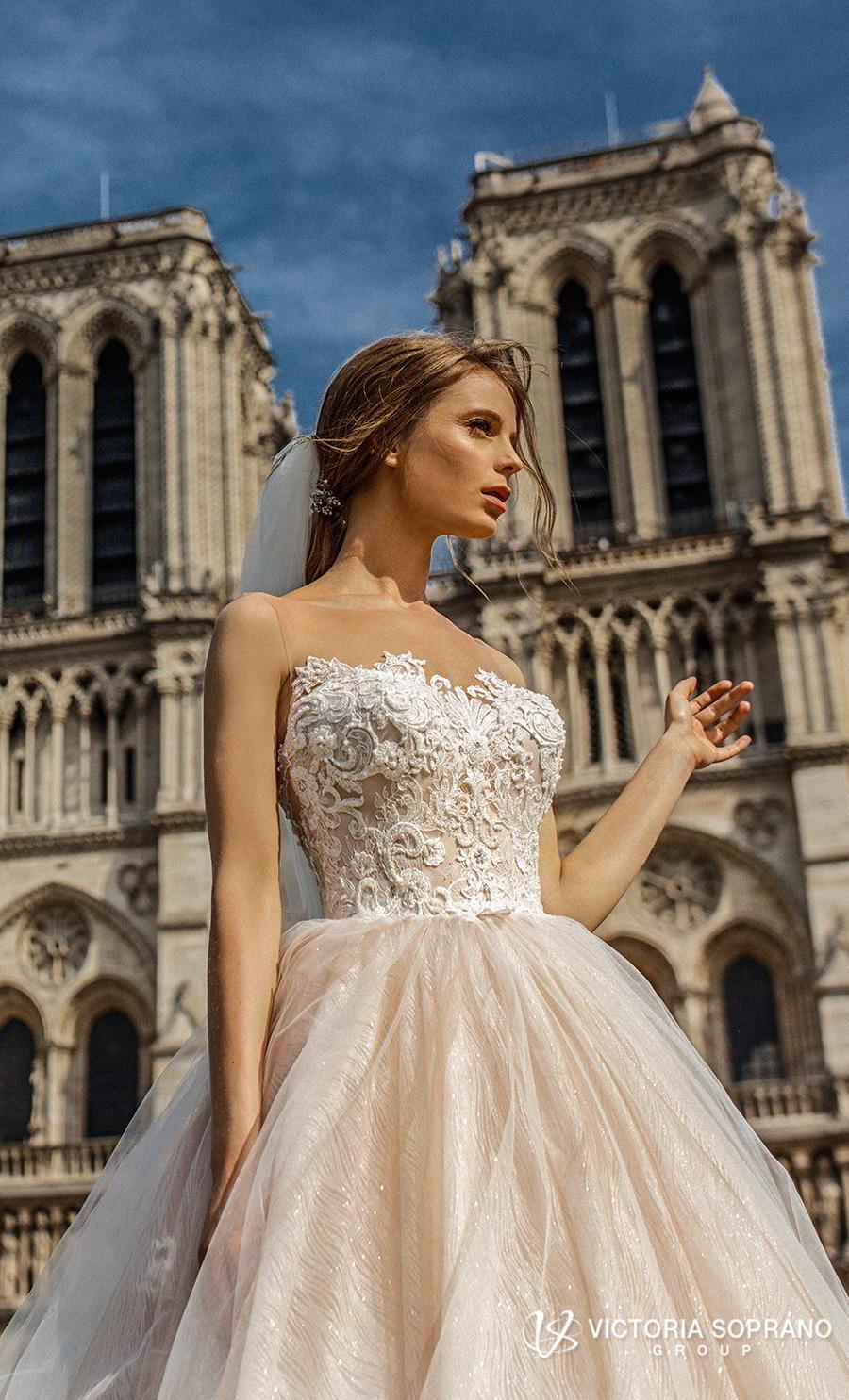 victoria soprano 2019 bridal detachable long sleeves off the shoulder illusion bateau sweetheart neckline princess blush ball gown wedding dress chapel train (justina) zv